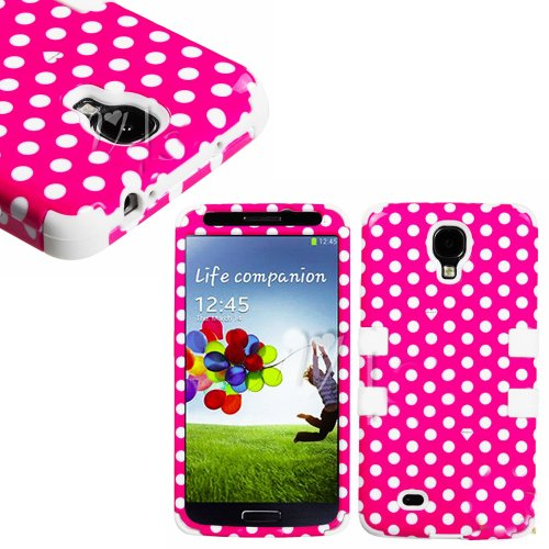 "myLife (TM) White - Pink Polka Dot Design (3 Piece Hybrid) Hard and Soft Case for the Samsung Galaxy S4 ""Fits Models: I9500, I9505, SPH-L720, Galaxy S IV, SGH-I337, SCH-I545, SGH-M919, SCH-R970 and Galaxy S4 LTE-A Touch Phone"" (Fitted Front and Back Solid Cover Case + Internal Silicone Gel Rubberized Tough Armor Skin + Lifetime Warranty + Sealed Inside myLife Authorized Packaging) "" at Amazon.com"