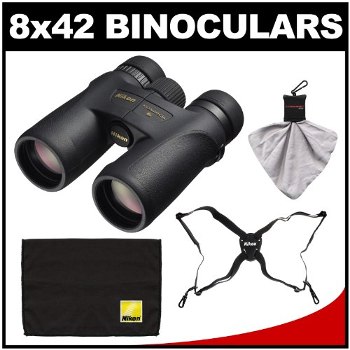 Nikon Monarch 7 8X42 Ed Atb Waterproof/Fogproof Binoculars With Case With Easy Carry Harness + Cleaning Cloth