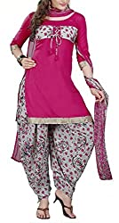 Mashuka Simran Women's Synthetic Unstitched Dress Material(D-No-5573_Pink_Free Size)