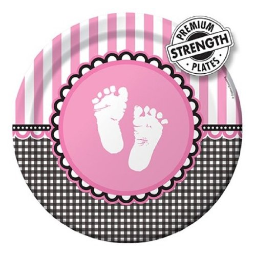 Creative Converting Sweet Baby Feet Pink Round Dinner Plates, 8 Count