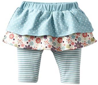 MINI BAMBA APPAREL Baby-Girls Newborn Tiered Skirt With Legging, Aqua, 6 Months