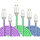 Eversame Bundle Of 3 6Ft 1.8M Premium Nylon Braided High Speed USB 2.0 A Male To Micro B Sync Charger Cable Cord...