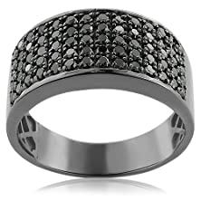 buy Designer 10K Gold Black Diamond Wedding Band For Men Luxurman Ring (1.6 Cttw, Black Color, Aaa Clarity)