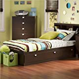"South Shore Furniture, Cakao Collection, Twin Mates Bed 39"", Chocolate"