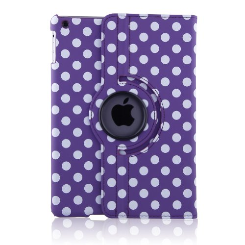 Generic Pu Leather Luxury Stylish Slim-Fit Ultra Lightweight 360 Degrees Rotating Swivel Stand Polka Dot Pattern Design Series Smart Cover Case Support Auto Sleep/Wake Feature Protection Magenetic Function & Multi-Angle Viewing For New Ipad 5 Ipad Air 5Th