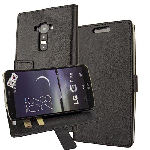 LG F340, LG G Flex Case,LG G Flex F340 Cover Aomax® Wallet Card Slot View Stand Premium Protective Leather Cover Case+ HD Screen Protector for LG G Flex D958 F340 (HDKS Black)