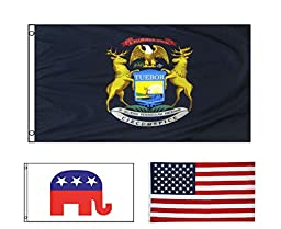 zooyoo New 3x5 Michigan State Flag Republican Elephant Flag And US FLAG
