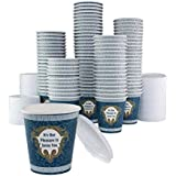 ChefLand NY Coffee Cup 10-ounce Paper Cup, It's Our Pleasure to Serve You, (Pack of 100 Cups with Lids)