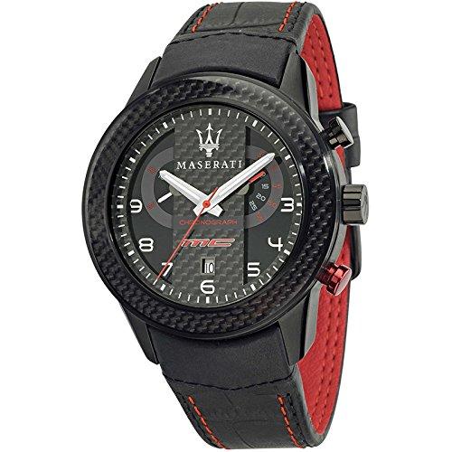 MASERATI CORSA Collection - R8871610004 - Reloj de caballero analógico (Sumergible, Crono, Calendario) Acero y Fibra de carbono