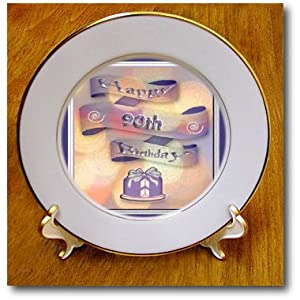 3dRose cp_24376_1 Ribbon and Cake Happy 90th Birthday Porcelain Plate, 8-Inch