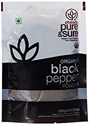 Pure & Sure Organic Powder, Black Pepper, 100g