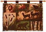 Lodge Collage Bear, Deer and Owl Woodland Cotton Tapestry Wall Hanging 26 x 36