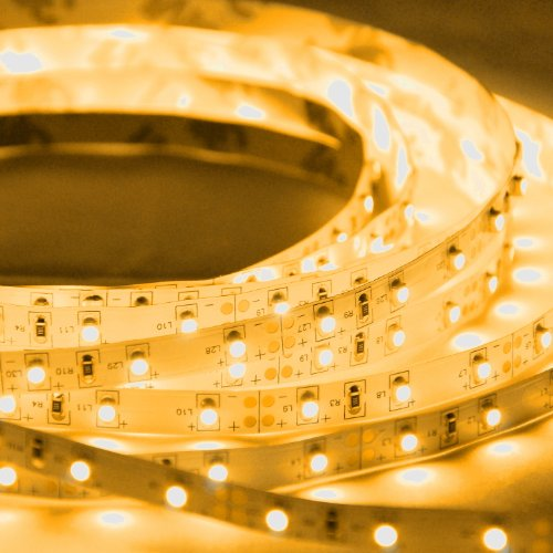 Abi Orange Yellow Flexible Led Strip Light With Ac Adapter, 300Leds, 5 Meters / 16.4 Ft Spool, 12Vdc