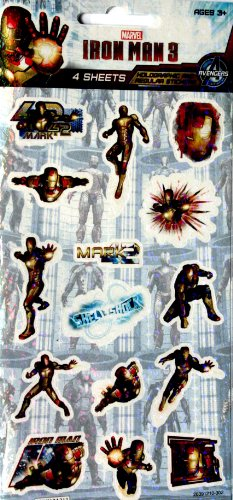 Iron Man 3 Stickers, 4 Sheets Iron Man Party Supplies
