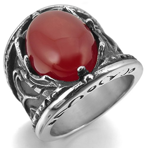 Men'S Stainless Steel Ring Agate Silver Black Red Biker Unique Size8