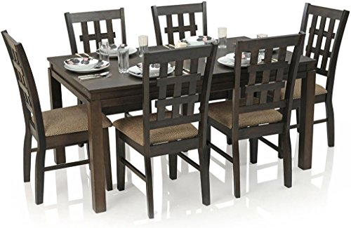 Royal Oak Chequered Daisy Six Seater Dining Table Set (Dark Brown)