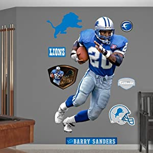 NFL Detroit Lions Barry Sanders Record Breaker Wall Graphics by Fathead