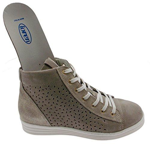 art C3689 lacci sneacker taupe tortora ortopedica cerniera sneaker scarpa donna 38 tortora