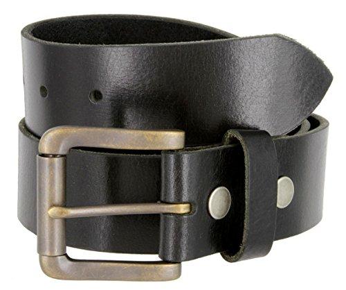 Mens Casual Full Grain One Piece Genuine Buffalo Leather Jean Belt In Black