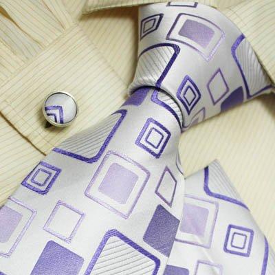 Slate blue pattern designer ties for men fathers day gifts Italian style silk tie cufflinks handkerchief set H5001