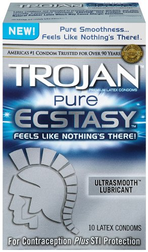 Trojan Condom Pure Ecstasy Ultrasmooth Lubricated, 10 Count