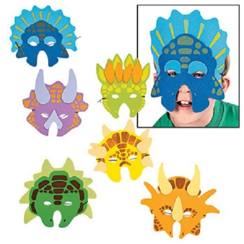 Lot of 12 Child Size Foam Dinosaur Masks Boys Party Favors