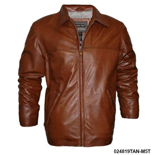 Mens Classic Tan Soft Real Leather Jacket M5T Size Small