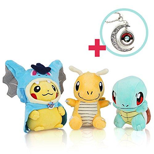 "(3 Set 5,6"") Pokemon  Squirtle  Dragonite  High Necklace - Enjoy the Pokemon Plush Doll with Pokemon games"