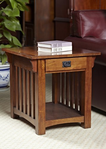 Cheap Leick Mission End Table with Storage Drawer & Shelf – Medium Oak (B004CHF8HM)