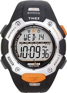 Timex Sports T5F821 - Reloj de caballero de cuarzo, correa de resina color negro (con luz, alarma, cuenta vueltas, cronómetro)