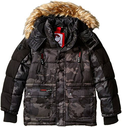 Canada Weather Gear Little Boys' Heavyweight Hooded Jacket, Cow Bubble Black/Camo, 5/6 (Canada Winter Jacket compare prices)