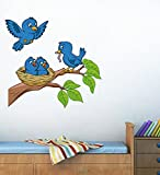 StickersKart Wall Stickers Adorable Blue Birds Feeding Baby Room (Wall Covering Area: 70cm x 90cm)