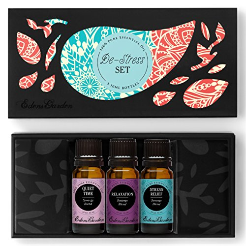 De-Stress Essential Oil Set- 100% Pure Therapeutic Grade Aromatherapy Oils- 3/ 10 ml of Quiet Time, Relaxation, Stress Relief Blends by Edens Garden