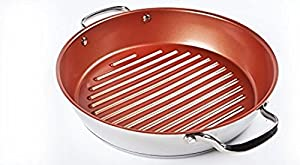 (Ship from USA) NuWave BBQ Grill Pan Stainless Steel Non Stick w/ Lid Induction Safe Cookware /ITEM NO#8Y-IFW81854229140