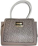 Calvin Klein Purse Handbag Signature Logo Carey Tote Beige/Brown