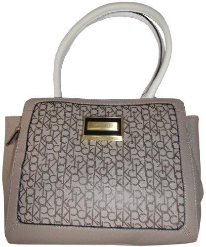Calvin Klein Purse Handbag Signature Logo Carey Tote Beige/Brown