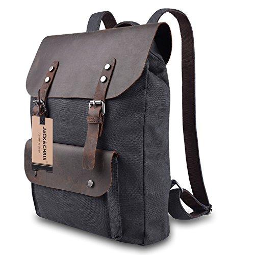 Jack&Chris Vintage Canvas Leather School Backpack Rucksack Bag Daypack,MC2166 1