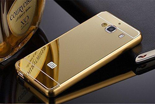 JMV Xiaomi Redmi 2/ 2S/ Prime Case, JMV Luxury Metal Bumper Acrylic Mirror Back Cover Case For Xiaomi Redmi 2/ 2S/ Prime - (Gold Mirror)