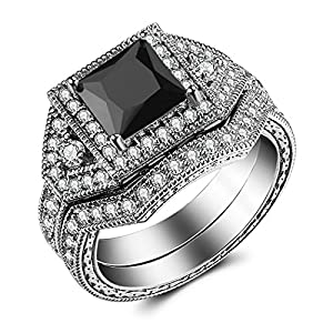 Caperci 2.0ct Princess-Cut Black CZ Diamond Engagement Ring Bridal Set 14k White Gold Plated Sterling Silver Size 8