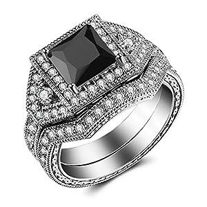Caperci 2.0ct Princess-Cut Black CZ Diamond Engagement Ring Bridal Set 14k White Gold Plated Sterling Silver Size 8