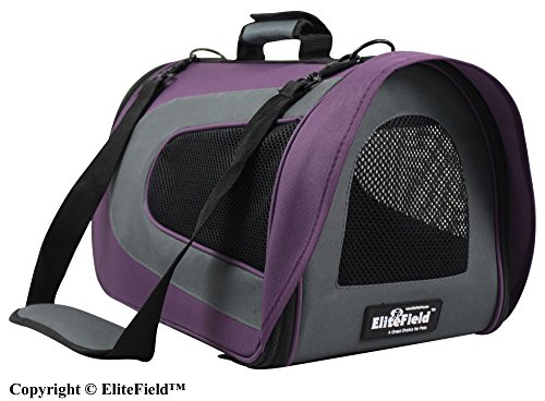EliteField Deluxe Soft Pet Carrier (3 Year Warranty, Airline Approved), Multiple Sizes and Colors Available (18″L x 10″W x 11″H, Purple+Gray)