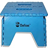 Chefcoo™ Folding Step Stool - Strong and Stable for Adults - Portable and Lightweight for Children - Built-in Handles for Kids and Toddlers to Carry Easily - Non-skid Top - For Use in the Kitchen, Bathroom and RVs - Extended One Year Unconditional Warranty (Blue)