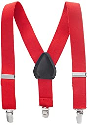 Buyless Fashion Kids Baby Adjustable Elastic Solid Color 1 inch Suspenders - Red - Size 26 Inch