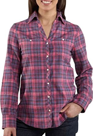 Carhartt Women's Roll Up Sleeve Button Front Flannel Shirt,Morning Rose (Closeout),X-Small