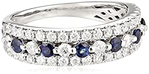 14k White Gold Diamond (3/4cttw, H-I Color, I2 Clarity) Sapphire Ring, Size 7