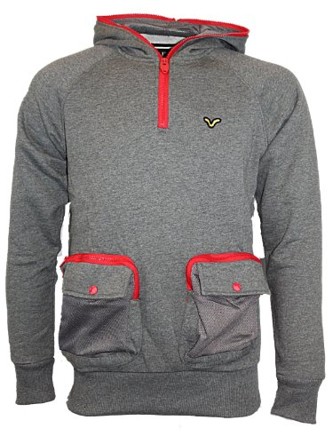 Mens Charcoal VOI Jeans Shadwell Hoody Designer Branded Hooded Jumper Top Size M