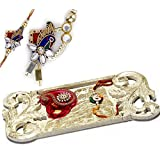 Charming Tray Style Gold Rakhi Pooja Thali With Set Of Bhaiya Bhabhi Rakhis