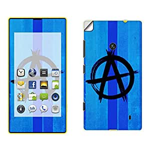 Skintice Designer Mobile Skin Sticker for Nokia Lumia 520, Design - Blue Anarchy Symbol