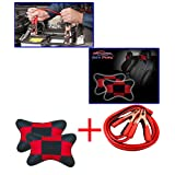 Combo - Auto Pearl - 500 Amp Heavy Duty Jumper Booster Cables 6Feet, Sqare Red&Black Car Neck Rest
