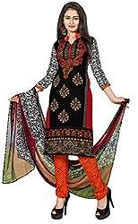 Kimisha Black Crepe Printed Casual Wear Dress Material